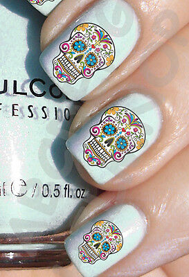 60 x Nail ART agua MEXICANA CRÁNEO transferencia uñas STICKERS decals calcomania