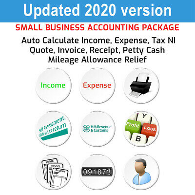 Spreadsheet Bookkeeping, Business Tax Accounts Calculator Complete Excel Package