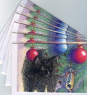 6 x black cat greeting holiday cards Christmas tree chocolate decorations fish