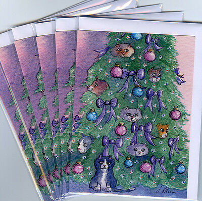 6 x cat greeting holiday cards Christmas tree decorations sparkle hanging out