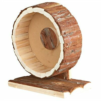 Natural Wooden Free Standing Hamster Exercise Wheel Smooth Motion & Quiet 20cm