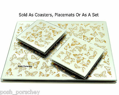 Set of 4 Luxury Glitter Butterfly Glass Gold Dinner Placemats / Coasters Or Set