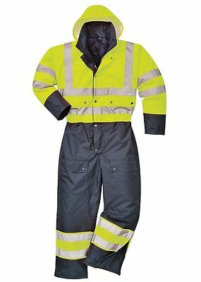 Hi Vis Yellow & Navy Thermal Lined Winter Coverall - warm winter padded overalls