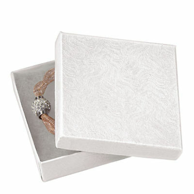 "Jewelry Boxes 100 Swirl White Cotton Filled Gift 3 ½"" X 3 ½ x 1"" Embossed Lidded"