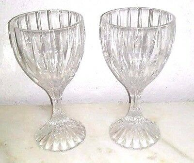 "Pair Of Mikasa Park Lane Wine Hock Crystal Goblet Glasses 6 3/4"" Tall"