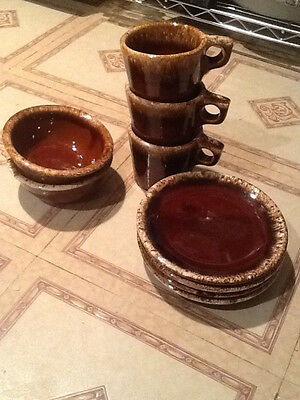 HULL Brown Drip Glaze  3 cups, 2 bowls and 3 small plates