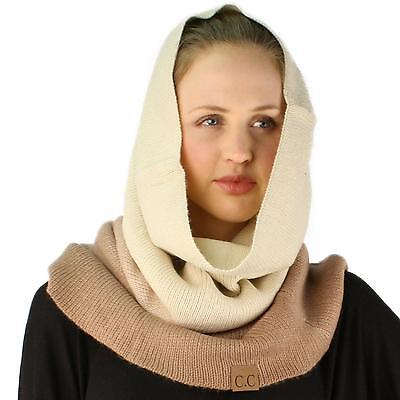 Winter Ombre Soft Pullover Knit Single Loop Tube Infinity Hood Cowl Scarf Taupe