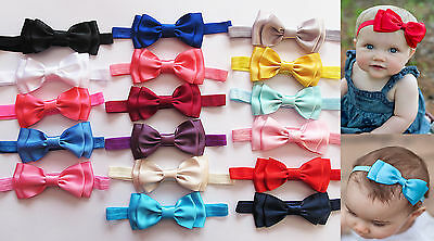 Baby Girls Double Layer Satin Bow Soft Elastic Headband Hair Band Accessories