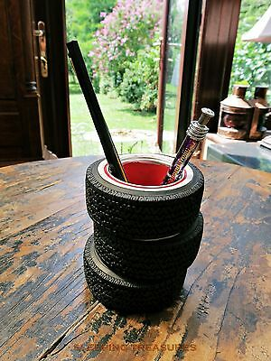 Hot Rod White Wall Tyre Pen Pot, Storage Pot, Classic V8 Vintage Look