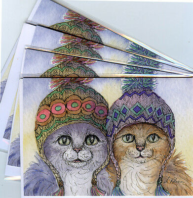 4 x cat greeting cards knitwear sisters knitting hats from Susan Alison painting
