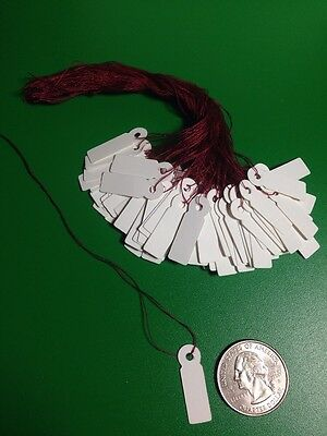 """100 Small White Jewelry Price Label Tags Strung with Burgundy Strings 1"""" Sales"""
