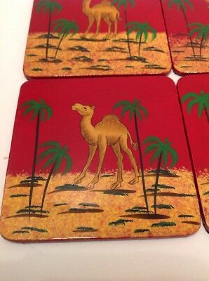 Hand Painted Camel Coasters Middle East Egypt Home Decor Red Green