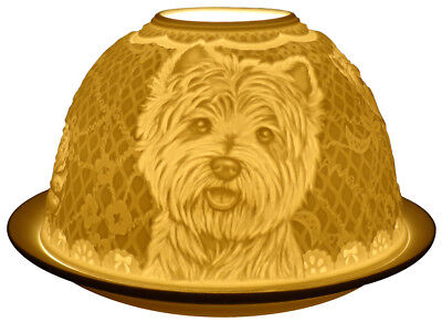 Light-Glow Westie West Highland Terrier Dogs Tealight Candle Holder Dome Ceramic