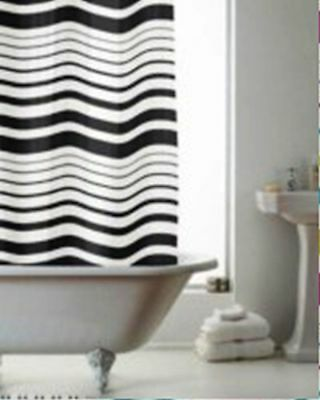 Modern & Stylish Black Stripes Striped Peva Shower Curtain 180 X 180Cm Approx
