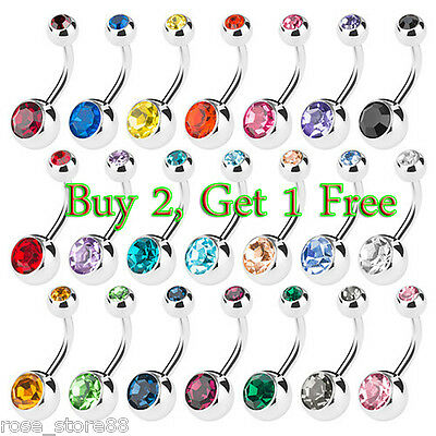 Surgical Steel Mixed Crystal Navel Belly Ring Button Bar Body Piercing Jewelry
