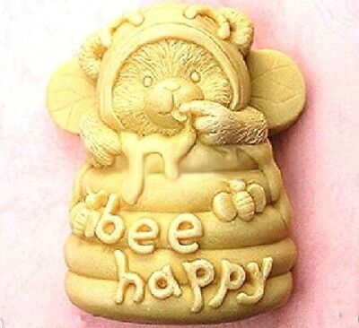 3D Bee Happy Hive Candle Mold Soap Mould Flexible Silicone Handmade #M1340 QL
