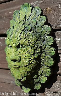 "Feather green man wall plaque pagan stone home or garden ornament 24cm/9.5"" high"