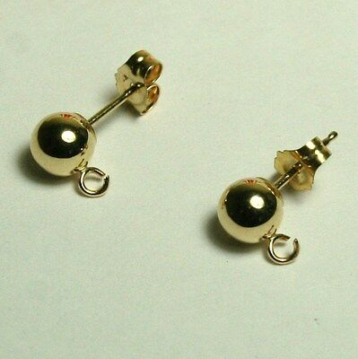 1 pair 14K solid yellow gold 6mm round ball stud earrings findings