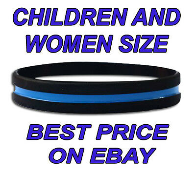 Thin Blue Line Police Wristband (Individually Wrapped) Kids / Child Size