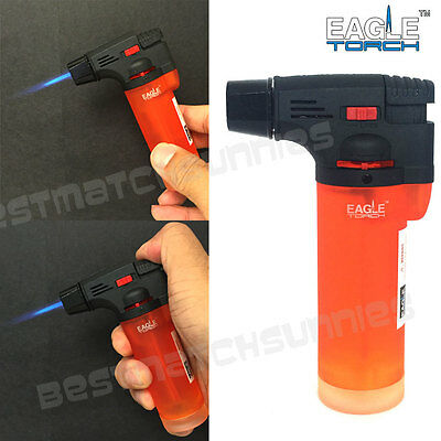 Eagle Jet Torch Gun Lighter Semi-Transparent Tank Windproof Refillable Orange