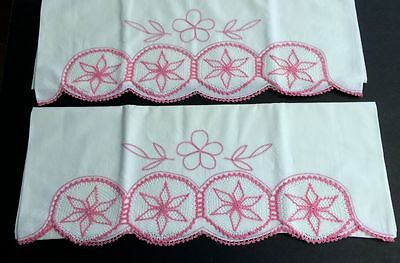 Pair Sweet Vintage American Pink Crochet White Cotton Pillow Cases #2