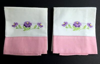 Pair Sweet Vintage American Pink Lilac Embroidery White Cotton Pillow Cases Sham