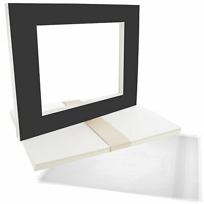 "10 11""x14"" Matte Black Picture Mat Set White Core 8""x10"" Photos Backers & Bags"