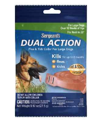 """Sergeants Large Flea & Tick Dog Puppy Dual Action Collar Up To 23"""" Free Ship Usa"""