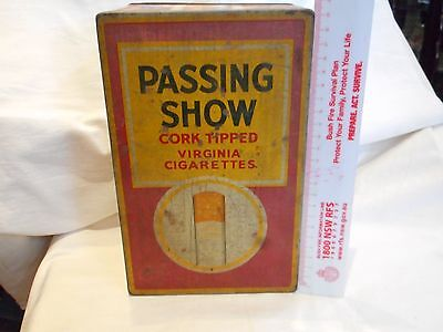 Vintage Large Shop Counter Top Passing Show Cork Tipped Virginia Cigarettes Tin