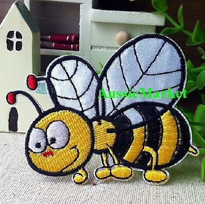 1 x bee patch boy girl jeans dress iron sew on cotton embroidered applique honey