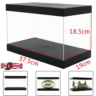 UK 37cm L Acrylic Perspex Plastic Display Case Box Big Self-Assembly Dustproof