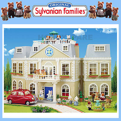 NEW SYLVANIAN FAMILIES GRAND HOTEL 3 STOREY DOLL HOUSE w WORKING LIGHT 4700