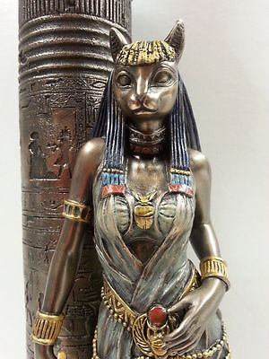 Egyptian Statue Goddess Bast Bastet Cat Leaning on Candle Pillar #WU76698A4
