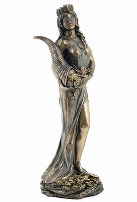 Roman Goddess Prosperity Lady Luck Fortuna Statue Warm Bronz Finish #WU75416A4