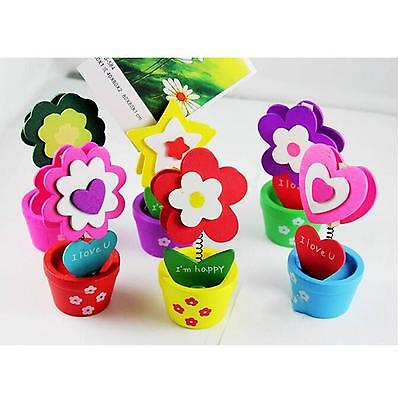 Wooden Flowerpot Memo Note Photo Mini Clip Holder Home Office Desk Decor Gift