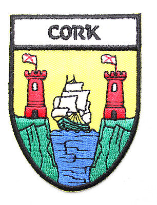 Irish Cork County Crest Shield Embroidered Sew-on Cloth Badge Patch Appliqué