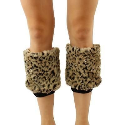 Winter Faux Fur Animall Pr Dance Ski Leg Warmer Boot Shoe Cover Elastic Cheetah