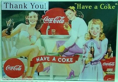 COCA COLA metal sign Thank you have a coke parlor girls vintage style soda pop