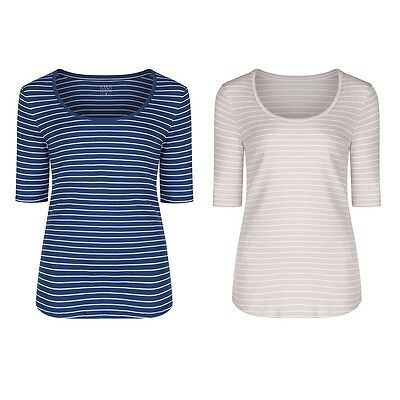 Marks & Spencer Womens Striped Cotton Tops New M&S Short Sleeve Soft T-Shirt Tee