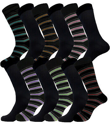 12 Pair Fashion Pattern Men's Dress Socks Size 10-13 Formal Cotton Socks