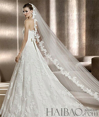 New 1 Layer 3m White/Ivory wedding Bridal veil Cathedral Lace handmade
