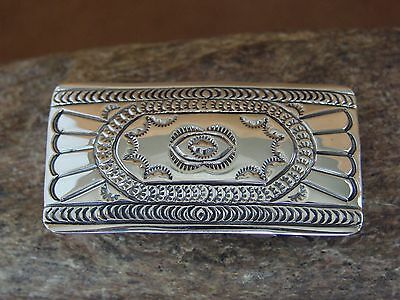 Native American Sterling Silver Hand Stamped Belt Buckle Anderson Parkett
