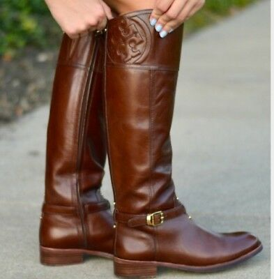 5a9c672ffa5 Tory Burch MARLENE Boots RIDING Brown FINNI Veg Leather small scratches