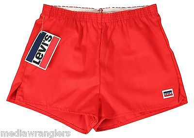 "NEW VTG 80s LEVIS Red SHORT SHORTS 30"" Waist Youth Large Made In USA! NWT NOS"