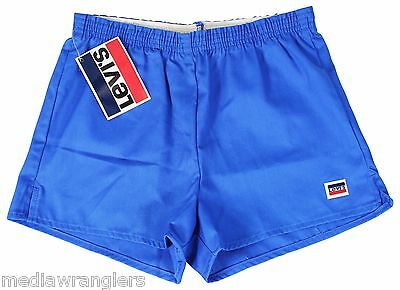 """NEW VTG 80s LEVIS Blue SHORT SHORTS 32"""" Waist Youth XL Made In USA NWT Deadstock"""
