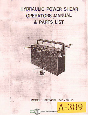 Acra FSP, 36 and 52 Shear, Operations Parts and Wiring Manual