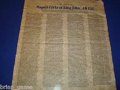 Magna Carta of King John, 1215 English Text, Repro on Parchment Rolled in Tube