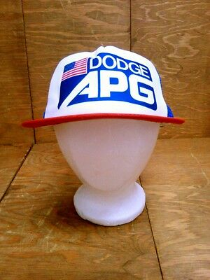 Vintage Dodge APG American Flag Mesh Foam Snap Back Truckers Hat Made in USA A++