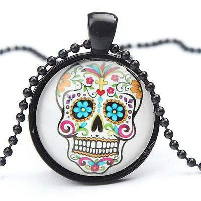 SUGAR SKULL ~ Day of the Dead Tattoo Halloween Skeleton Glass Pendant Necklace