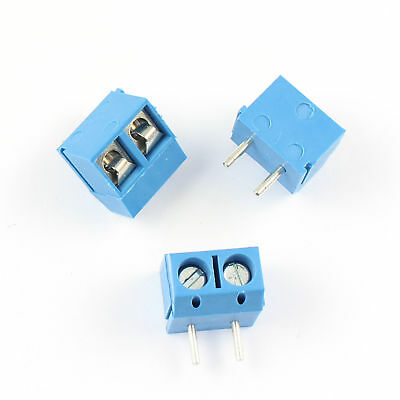 10Pcs Blue 5mm Pitch 2 pin 2 way PCB Right Angle Screw Terminal Block Connector